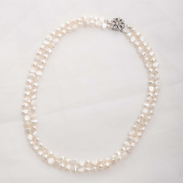 Cordelia-Double Strand Freshwater Pearls and Rhinestone Crystal Clasp Necklace 1