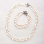 Cordelia-Double Strand Freshwater Pearls and Rhinestone Crystal Clasp Bracelet 4