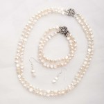Cordelia-Double Strand Freshwater Pearls and Rhinestone Crystal Clasp -Set 2