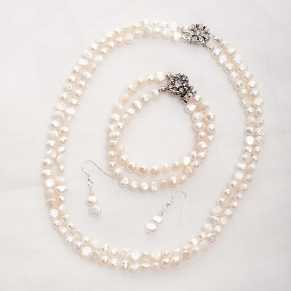 Cordelia-Double Strand Freshwater Pearls and Rhinestone Crystal Clasp -Set 13