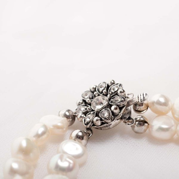 Cordelia-Double Strand Freshwater Pearls and Rhinestone Crystal Clasp Necklace 9