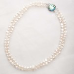 Alba - Double Strand Freshwater Pearl Bracelet with Abalone Clasp 4