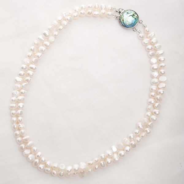 Alba - Double Strand Freshwater Pearl Bracelet with Abalone Clasp 11