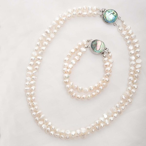Alba - Double Strand Freshwater Pearl Bracelet with Abalone Clasp 12