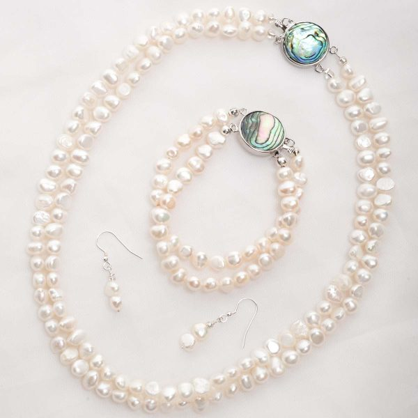 Cordelia - Double Strand Freshwater Pearl Necklace with Abalone Clasp 42