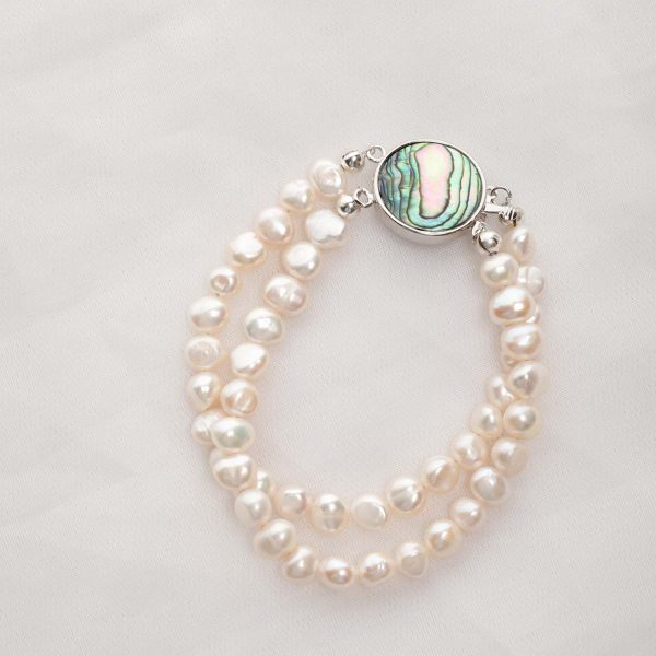 Alba - Double Strand Freshwater Pearl Bracelet with Abalone Clasp 9