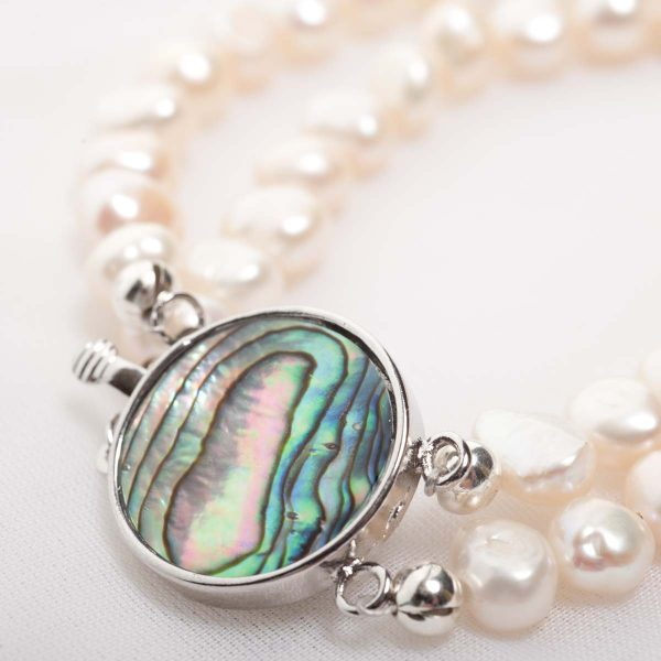 Cordelia - Double Strand Freshwater Pearl Necklace with Abalone Clasp 41