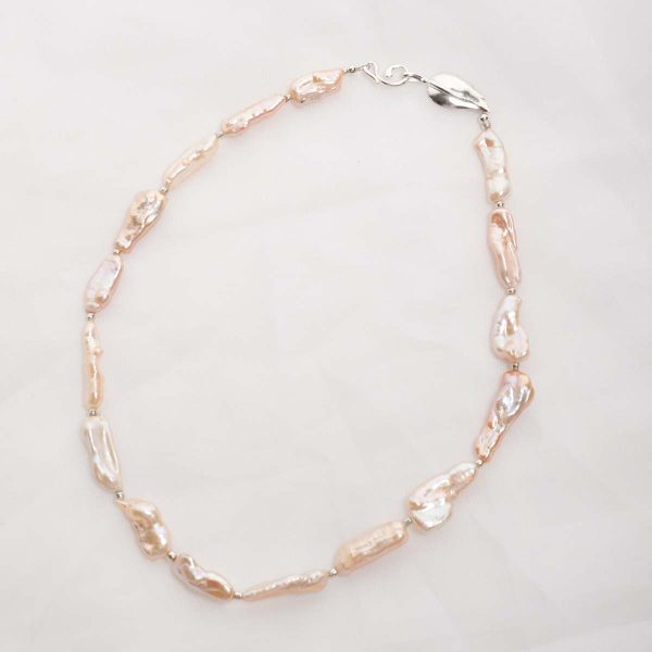 Lavinia – Baroque (Salmon/Pink) Cultured Freshwater Pearl Necklace 1