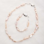 Lavinia – Baroque (Salmon/Pink) Cultured Freshwater Pearl Necklace & Bracelet Set 2