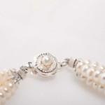Earwyn - Three Strand 3mm Freshwater Seed Pearls w/Sterling Silver Pendant Necklace 3