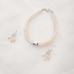 Earwyn - Three Strand 3mm Freshwater Seed Pearls w/Sterling Silver Pendant Necklace 2