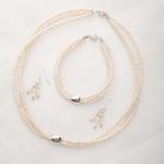 Earwyn - Three Strand 3mm Freshwater Seed Pearls w/Sterling Silver Pendant Necklace 4