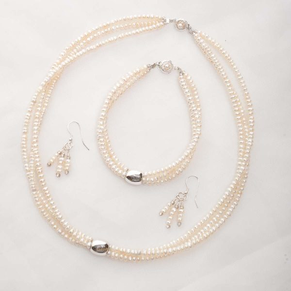 Earwyn - Three Strand 3mm Freshwater Seed Pearls w/Sterling Silver Pendant Set w/FREE Earrings 16