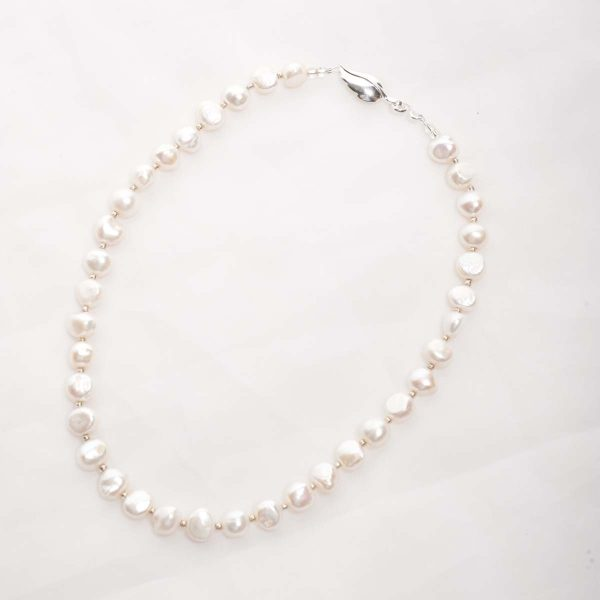 Lavinia - 10-12mm (White) Baroque Cultured Freshwater Pearl Necklace 5