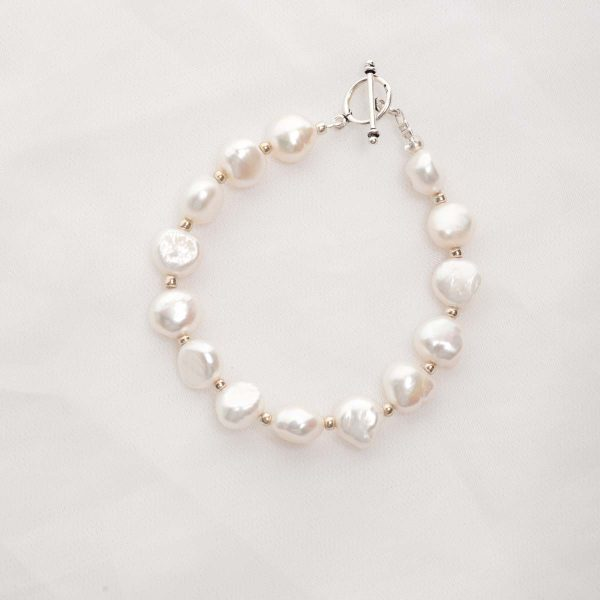 Lavinia - 10mm  (White) Baroque Cultured Freshwater Pearl Bracelet 6