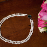 Cordelia - Double Strand Freshwater Pearl Necklace with Abalone Clasp 2
