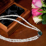 Cordelia - Double Strand Freshwater Pearl Necklace with Abalone Clasp 7