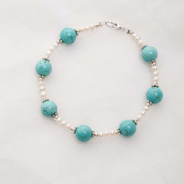 Turquoise & Freshwater Pearl Bracelet