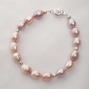 salmon / pink freshwater pearl bracelet 6mm bead with sterling silver and freshwater pearl clasp