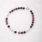 Purple Agate with rihinestone bead necklace,