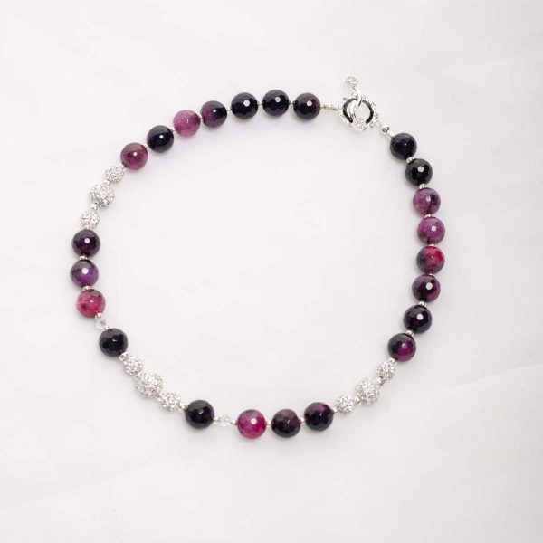 Purple Agate with rihinestone bead necklace