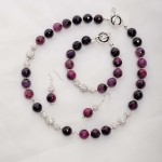 Purple Agate with rihinestone bead necklace, bracelet and earrings