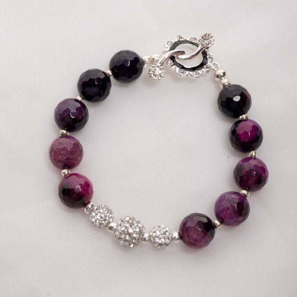 Purple Agate with rihinestone bead Bracelet