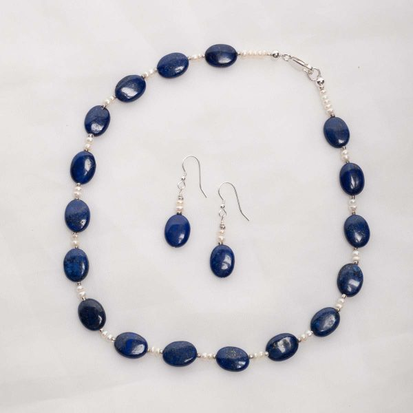 Azura - Lapis Lazuli  14mm oval beads with 3-4mm freshwater pearl beads w/sterling silver lobster clasp 11