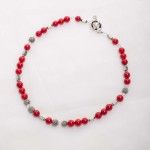 Scarlet - Coral 6mm Bead w/ Swarovski Crystals with Silver Plated Beads w/ Crystal Encrusted Enamel Clasp Necklace 2
