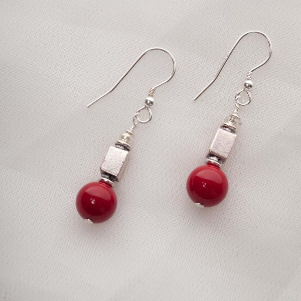 Scarlet - Coral Earrings with Silver Plated Bead 1