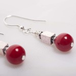 Scarlet - Coral Earrings with Silver Plated Bead 3