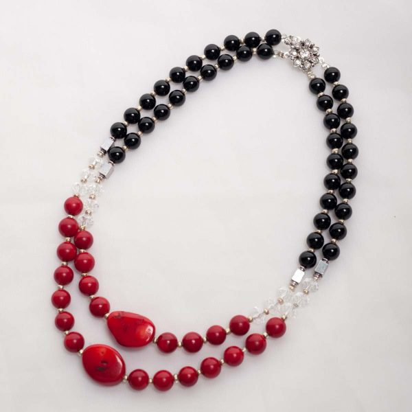 Scarlett - Black Onyx , Crystal and Coral Beads w/ Crystal adorned Silver Plated Clasp 1