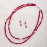 Scarlett - Double Strand Coral with Silver Bead Necklace with matching Earrings 2