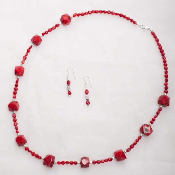 Scarlett - Round and Square Bead Coral Necklace w/ Sterling Silver Clasp 5