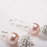 Tasi - South Pacific Pink Seashell  Earrings with Rhinestone Encrusted Bead 2