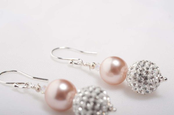 Tasi - South Pacific Pink Seashell  Earrings with Rhinestone Encrusted Bead 1