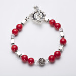 Scarlet - Coral 6mm Bead w/ Swarovski Crystals with Silver Plated Beads w/ Crystal Encrusted Enamel Clasp Necklace 4