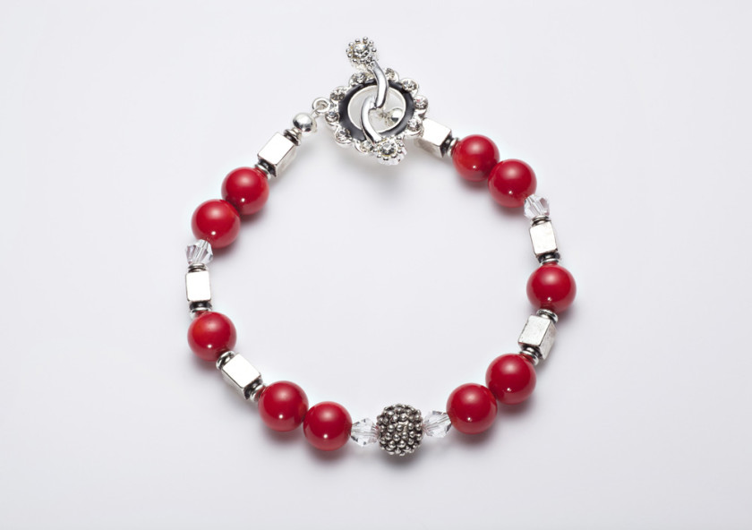 Scarlet - Coral 6mm Bead w/ Swarovski Crystals with Silver Plated Beads w/ Crystal Encrusted Enamel Clasp Necklace 12
