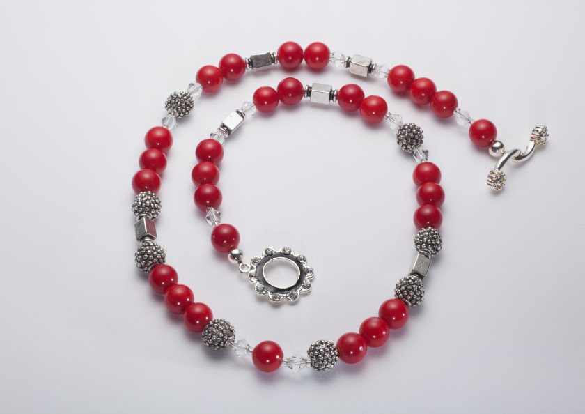 Scarlet - Coral 6mm Bead w/ Swarovski Crystals with Silver Plated Beads w/ Crystal Encrusted Enamel Clasp Necklace 11