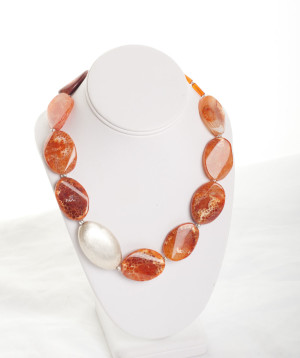 Orange Agate and Sterling Silver Plated Bead