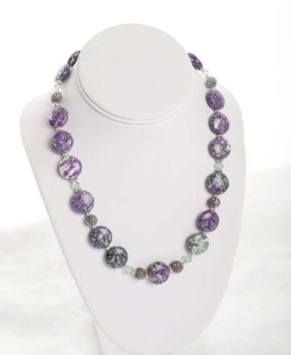 Jasper and swarovski crystal necklace