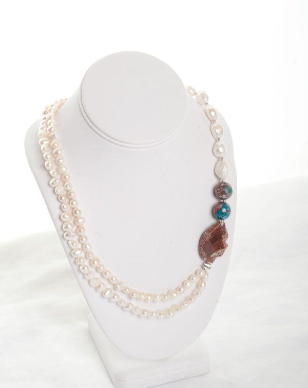 Orange Agate & Freshwater pearl & silver necklace 'AELWYD'