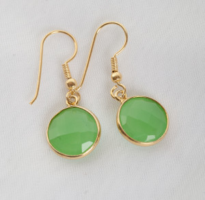 Jade Earrings gold plated over sterling silver