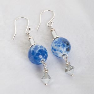Blue Agate with Sterling Silver and Swarvoski Crystal earrings