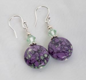 Jasper & Swarovski Crystal sterling silver earrings
