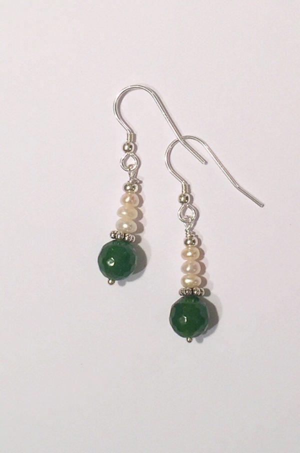Jade Earrings with Freshwater Pearls on sterling silver 8