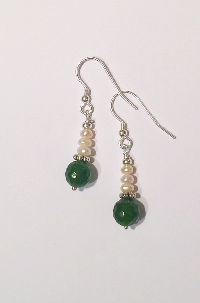 Jade Earrings with Freshwater Pearls on sterling silver 3