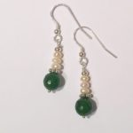 Jade Earrings with Freshwater Pearls on sterling silver 2