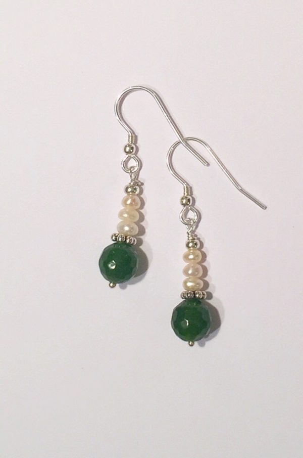 Jade Earrings with Freshwater Pearls on sterling silver 1