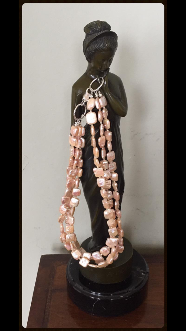 Lady Mary - Three Strand Rectangular Cultured Freshwater Pearl Necklace w/ Sterling Silver Clasp 2